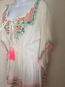 Sequin amp; White Embroidered Miss June Blue Kaftan EwgqxaXxA