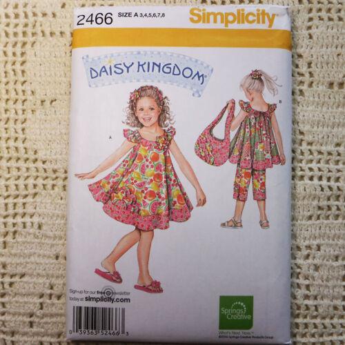 Simplicity 2466 Daisy Kingdom Dress Capri Tote Bag Clothes SEWING PATTERN 3-8