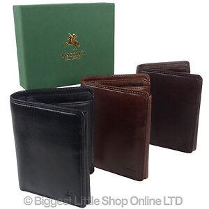 Para-hombres-cuero-italiano-elegante-protegido-RFID-Tri-Fold-Wallet-por-Visconti-Caja-De-Regalo