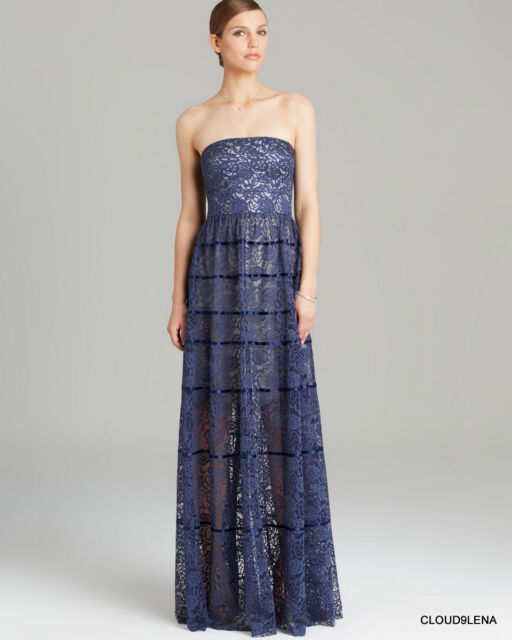 Vera Wang Blue Lace Gown Evening Dress Regular 6 Ebay