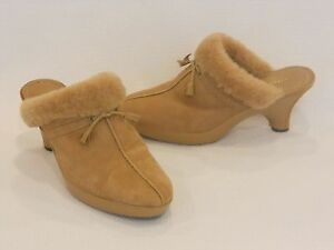8bbb14a1ba6 Antonio Melani Tan Leather   Suede Faux Fur Trim Mule Slides 7.5M ...