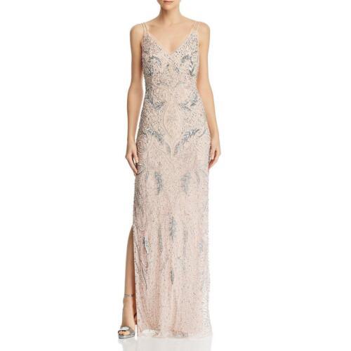 Aidan Mattox Womens Pink Beaded Strappy Formal Evening Dress Gown 12 BHFO 6533