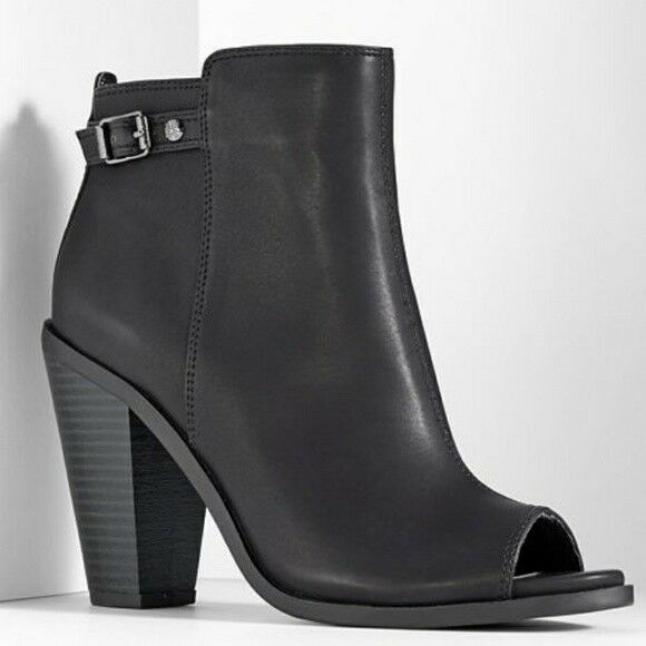New Women's Simply Vera Eston Peep Toe Booties - Black (D5)