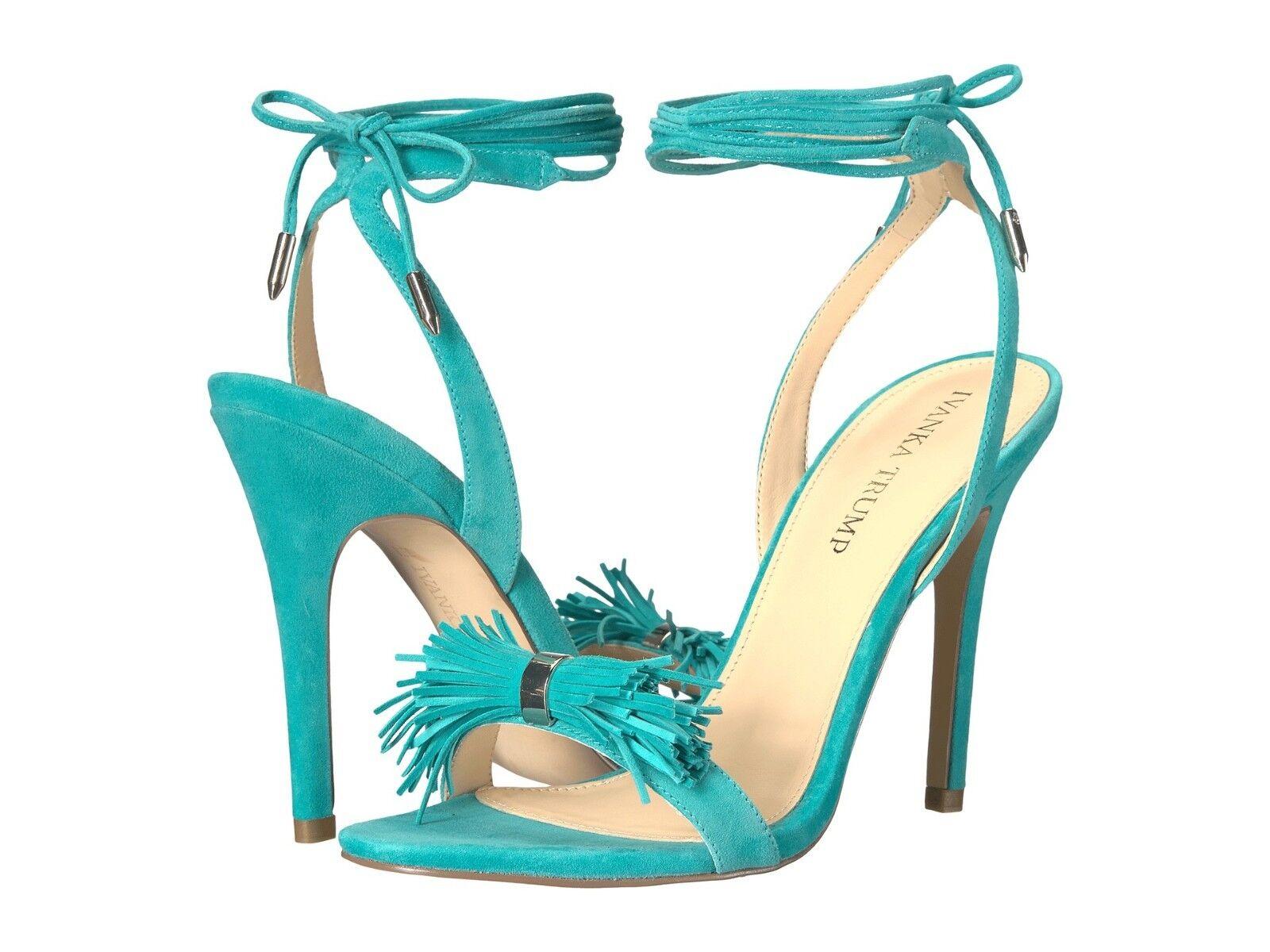 Ivanka Trump HETHAL Womens Suede Leather Dress SandalSz 9 Turquoise NIB . 130
