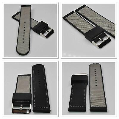 Hybrid Silikon-Leder Uhrenarmband Modell Schwarz Stegbreite 22mm