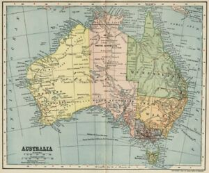 Australia Map With Cities And Towns.Details About Australia Map Authentic 1902 Dated Towns Cities Ports Railroads Detailed
