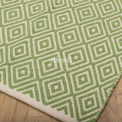 Fair Trade 3 Sizes Diamond Geometric Weave Cotton Handloom Rug Soft Modern 5 Col