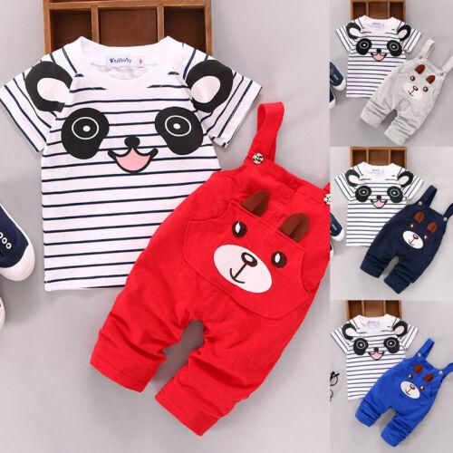 2pcs Hose Latzhose Outfits Satz Baby Kinder Junge Mädchen T-Shirt Oberteile