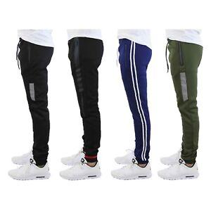Mens Jogger Sweatpants w// Zipper Pockets Slim Fit Lounge Gym S M L XL 2XL NWT
