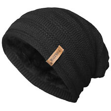 81c837997 Novawo Winter Fleece Lined Beanie Hat Thick Skull Cap Black Without ...