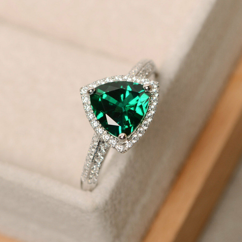2.10 Carat Natural Emerald Engagement Ring 14K Solid White gold Diamond Rings