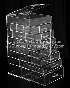 ACRYLIC LUCITE CLEAR CUBE MAKEUP ORGANIZER Drawers Plus Lid EBay - Acrylic cube makeup organizer with drawers