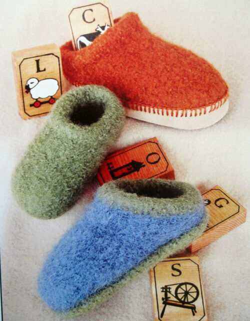 3 SIZES BABY SHOES to KNIT /& FELT in DK or WORSTED WEIGHT YARN by FIBER TRENDS