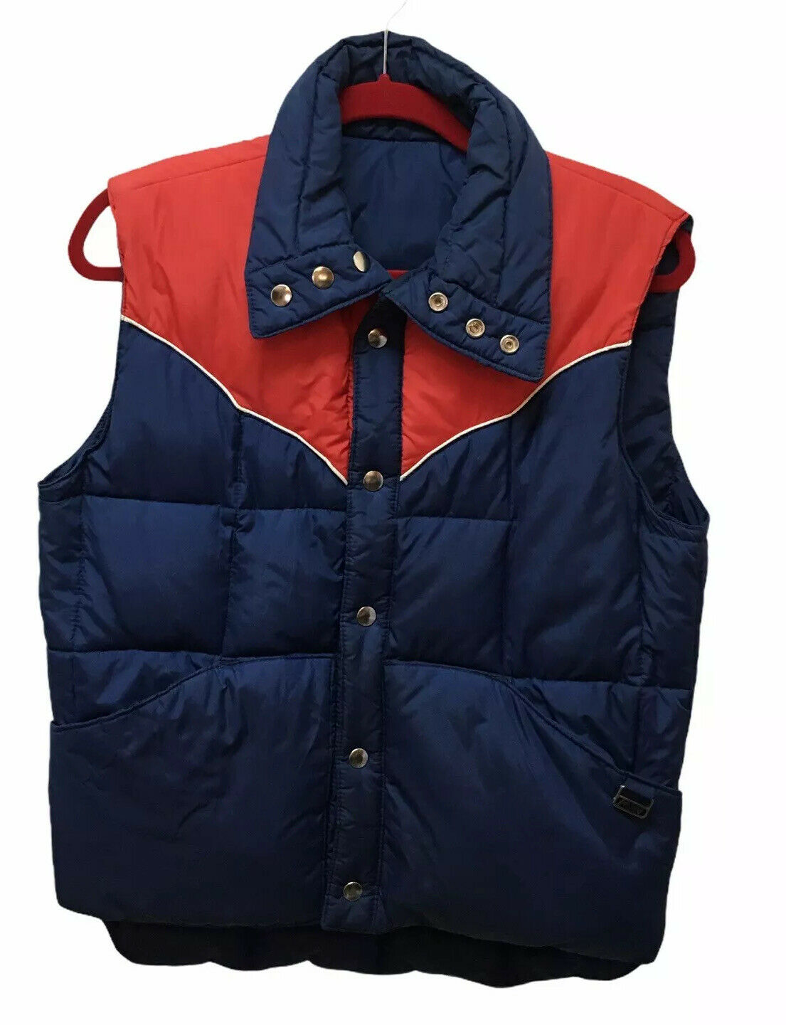 Vintage Montgomery Wards Reversible Retro Red Blue Down Puffer Vest