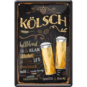 Kölsch Bier 2 Gläser Blechschild Metallschild Schild 20 x 30 cm JKM C0822