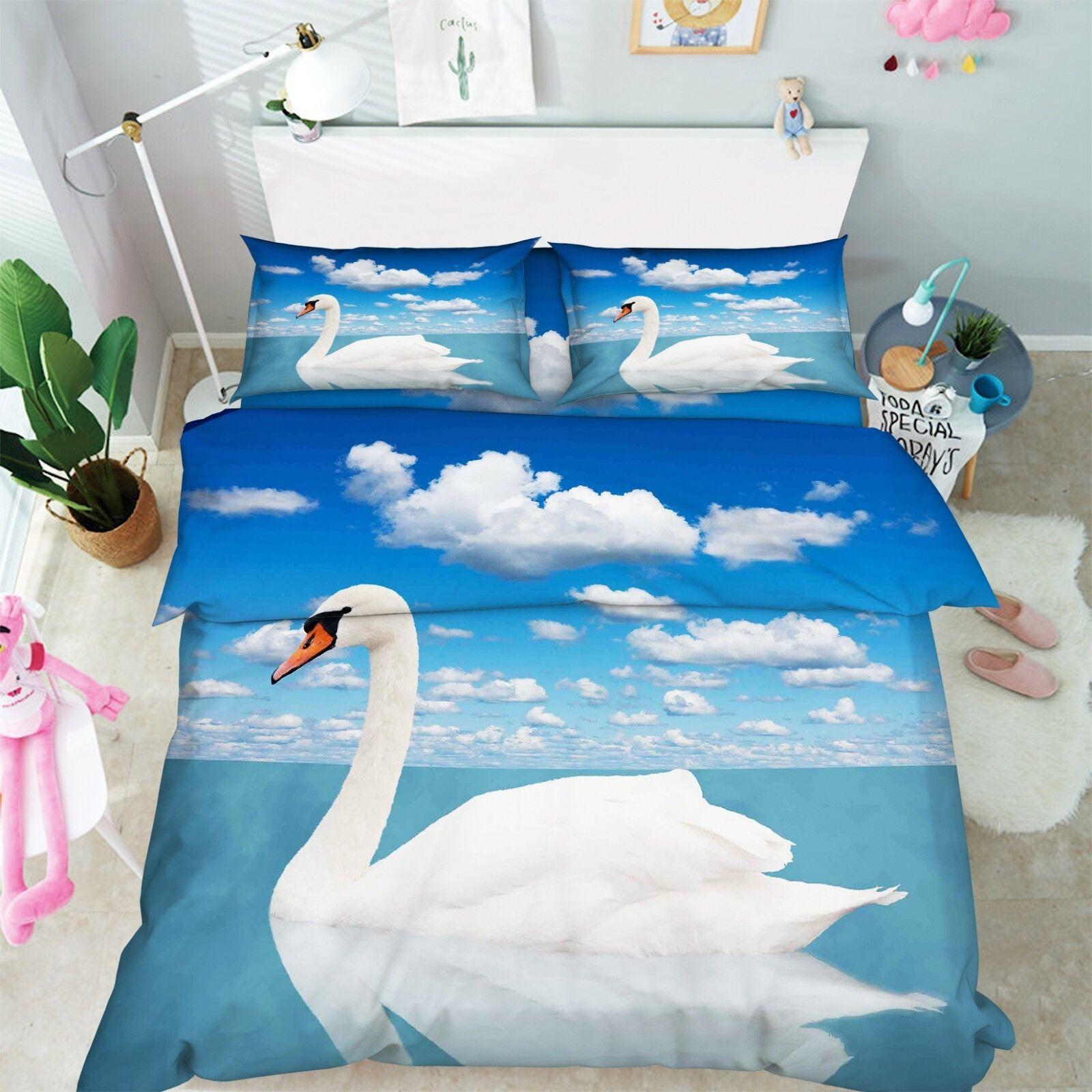 3D Sky Swan Lake 887 Bed Pillowcases Quilt Duvet Cover Set Single Queen King CA