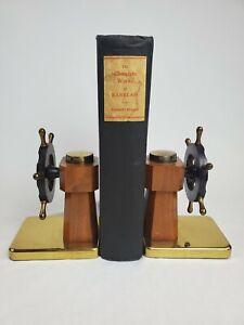 Antique 30 S Chase art déco bakélite laiton nautique capitaine roue Serre-livres Sail