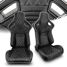 Universal Black Pvc Leatherwhite Stitch Leftright Recaro Style Racing Seats