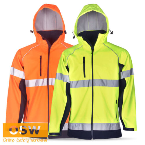 HI VIS DAYNIGHT SAFETY WARM WINDRAIN PROOF SOFTSHELL REFLECTIVE WORK JACKET