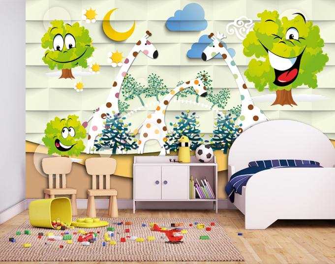 3D Smiley Baum Baum Baum Giraffe 73 Tapete Wandgemälde Tapete Tapeten Bild Familie DE | Qualität zuerst  |  83af94