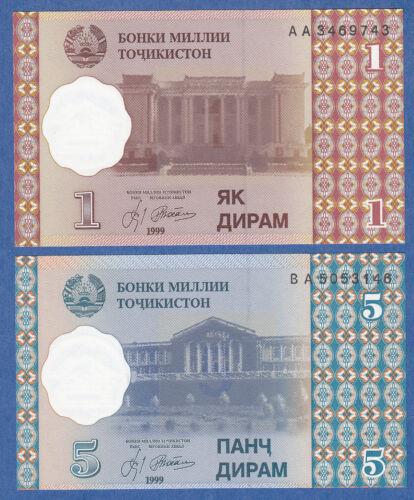Combine FREE 2 Notes LOT Tajikistan 1 /& 5 Diram P 10 /& P 11 UNC Low Shipping