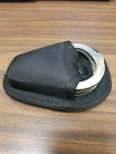 Details about  /Tactical Molle Open Handcuff Case Black Nylon Holder Pouch Pull through popular