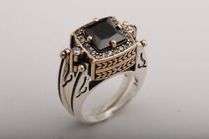 Turkish-Jewelry-Reversible-Square-Black-Onyx-Topaz-925-Sterling-Silver-Ring-Size