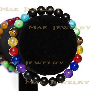 Elegant double 7 Chakra 8mm Round Stone beads s925 Sterling Silver Bracelet.