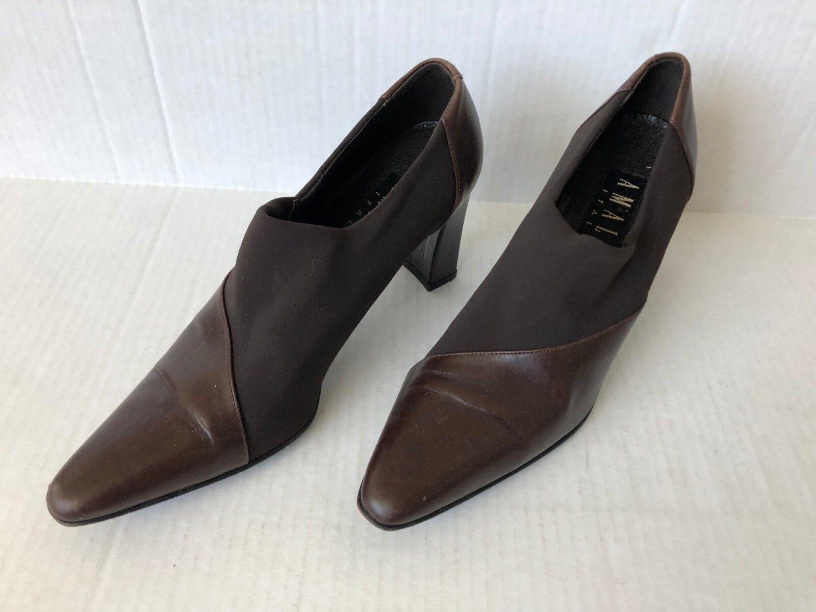 AMALFI Booties Brown Italian Leather Ankle High Heeled 7 Closed Toe