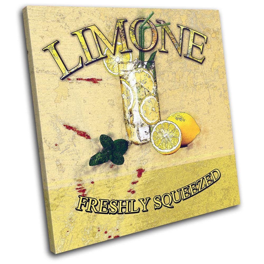Lemon Cocktail Grunge murale Vintage SINGLE TOILE murale Grunge ART Photo Print ee0ea6