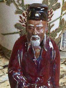 Antique Meiji Japanese Figurine Clay Pottery Samurai Old Man Warrior statue robe