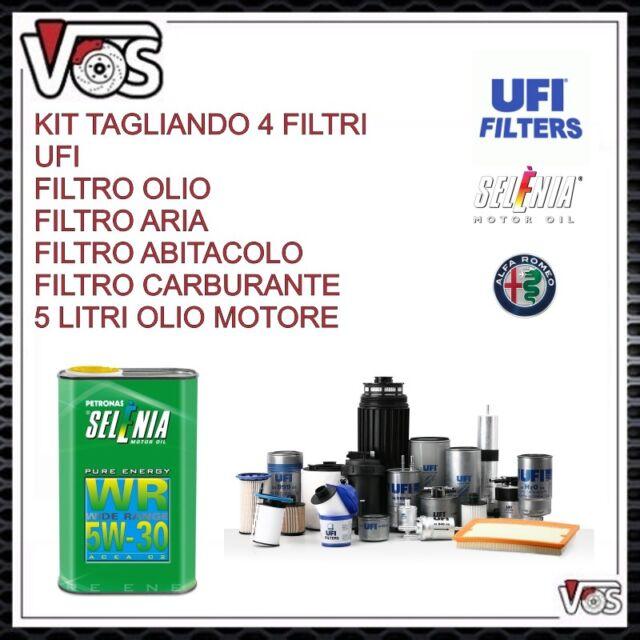 KIT TAGLIANDO 4 FILTRI + 5L OLIO SELENIA WR 5W30 ALFA ROMEO GIULIETTA 2.0 JTDm