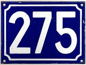 Large old blue French house number 275 door gate plate plaque enamel metal sign