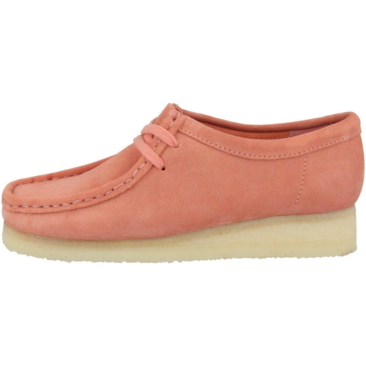Clarks wallabee mujer zapatos señora zapato bajo schnürzapatos coral Suede 26140925