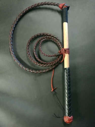 1 of 1 - 5ft Red Hide Stock Whip Stockwhip, free conditoner, fall, 6 crackers, free post