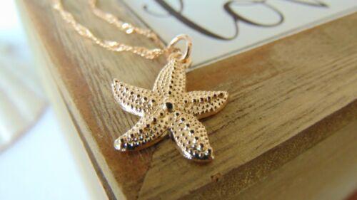 Estrella de mar encanto collar Champagne Oro Rosa Colgante Joyería Cadena De Onda 40 Cm