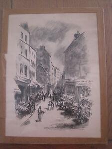 100% Vrai Ancienne Gravure , Un Marché à Paris De Berthola M. 1933