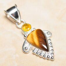 "Handmade Golden Tiger's Eye Gemstone 925 Sterling Silver Pendant 2"" #P07686"