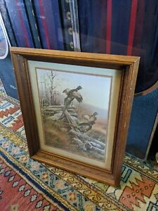 CARVED WOOD PICTURE FRAME GLASS VTG GREGORY MESSIER PRINT PHEASANT 17x14/20x17