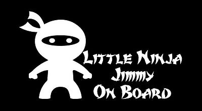 Baby Ninja On Board custom personalised name sticker vinyl decal car window