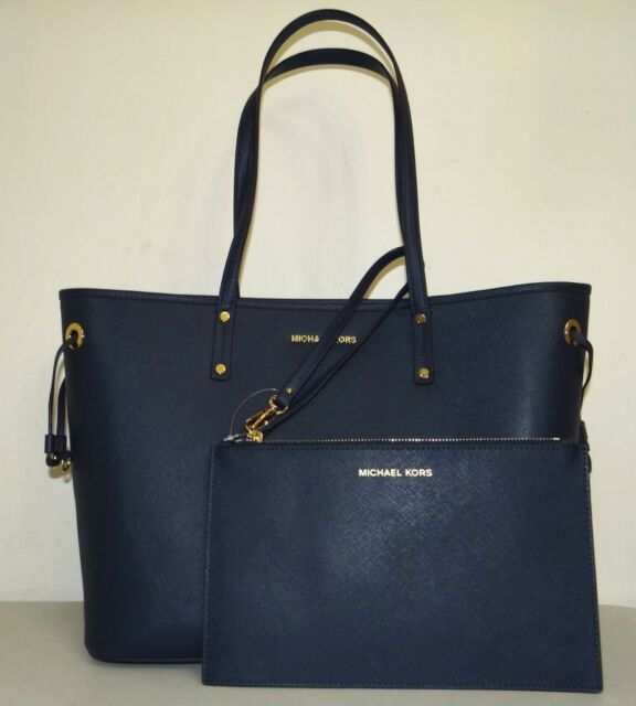 9aed51197c63 Michael Kors Jet Set Travel Large Leather Drawstring Tote Bag With Pouch in  Navy