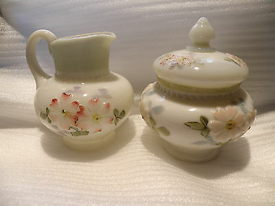 VINTAGE COSMOS OPALESCENT MILK GLASS SUGAR & CREAMER SHINY & CLEAN