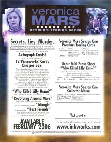 VERONICA MARS SEASON 1 2006 INKWORKS PROMO PROMOTIONAL SELL SALE SHEET