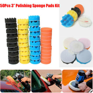 "50Pcs 3"" Polishing Waxing Buffing Pad Kit Sponge Foam for Car Polisher Machine"