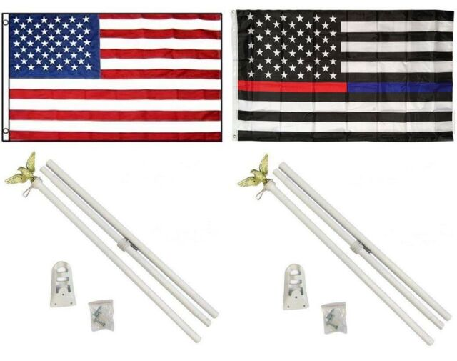3x5 USA Thin Blue Line Embroidered Nylon Flag Aluminum Pole Kit Set Eagle