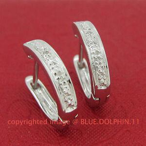 Genuine-Natural-Diamond-Fine-Silver-Hoop-Drop-Huggies-Earrings-White-Gold-Finish