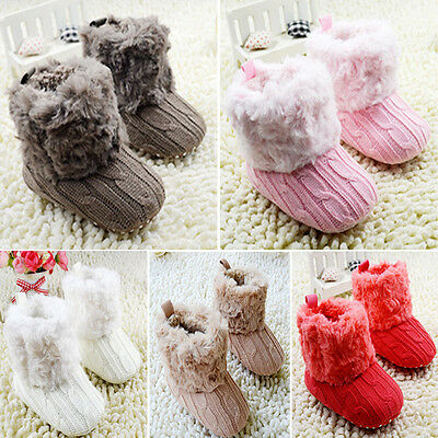 Newborn Crochet/Knit Fleece Boots Toddler Girl Wool Snow Crib Shoes Booties D46