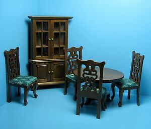 Image Is Loading Dollhouse Miniature Dining Room Set With Corner Hutch
