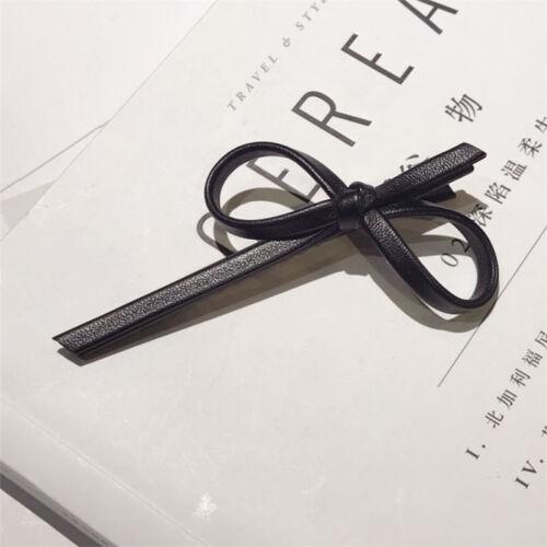 Fashion Women/'s Leather Bowtie Hair Clips Pin Hairpin Hair Barrette Accessories
