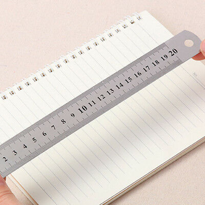 3-Sizes Metal Ruler Steel Stainless Pocket Pouch Metric Measurement Double Side